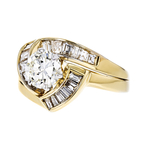 Stylish Modern Ladies 14K Yellow & White Gold Diamond Ring - 1.70CTW - New