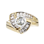 Stylish Modern Ladies 14K Yellow & White Gold Diamond Ring - 1.70CTW - New