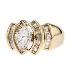 Exquisite Modern Ladies 14K Yellow & White Gold Diamond Ring - 1.86CTW - New