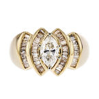Exquisite Modern Ladies 14K Yellow & White Gold Diamond Ring - 1.86CTW - New