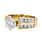 Gorgeous Modern Ladies 18K Yellow & White Gold Diamond Ring - 2.41CTW - New