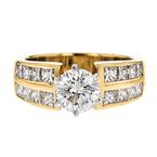 Gorgeous Modern Ladies 18K Yellow & White Gold Diamond Ring - 2.41CTW - New