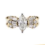 Gorgeous Modern Ladies 14K Two Tone Yellow & White Gold Diamond Ring - New