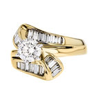 Gorgeous Modern Ladies 14K Yellow & White Gold Diamond Ring - 1.25CTW - New
