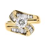 Gorgeous Modern Ladies 14K Yellow & White Gold Diamond Ring - 1.25CTW - New