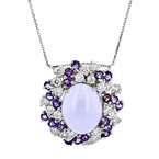 Ladies 14K White Gold Purple Jade, Amethyst & Diamond Necklace & Pendant Set NEW