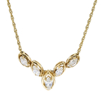 Modern Ladies 14K Yellow Gold Diamond Chevron Chain Necklace & Pendant Set - New