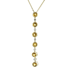 Modern Ladies 14K Yellow Gold Diamond & Citrine Chain Necklace & Pendant Set New