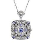 Modern Ladies 14K White Gold Blue Tanzanite Diamond Chain Necklace & Pendant Set