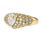Stunning Modern Ladies 14K Yellow Gold Diamond Ring - Brand New