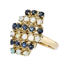Exquisite Modern Ladies 18K Yellow Gold Blue Sapphires & Opals Statement Ring