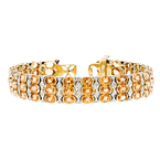 Gorgeous Modern Ladies 18K Yellow Gold Diamond & Garnet Bracelet - 1.26CTW - New