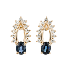 Gorgeous Modern Ladies 14K Yellow Gold Diamond & Blue Sapphires Earrings - New