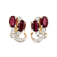 Charming Modern Ladies 18K Yellow Gold Diamond & Red Ruby Earrings - Brand New