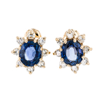 Gorgeous Modern Ladies 14K Yellow Gold Diamond & Blue Sapphire Earrings - New