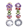 Charming Modern Ladies 14K Yellow Gold Multi-Color Glass Stone Earrings - New