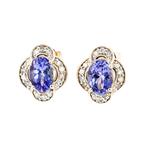 Charming Modern Ladies 14K Yellow Gold Diamond & Blue Tanzanite Earrings - New
