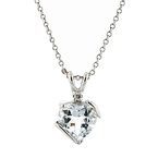 Modern Ladies 10K White Gold Bluish White Aquamarine & Diamond Chain & Pendant