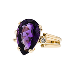 Stunning Modern Ladies 14K Yellow Gold Diamond & Purple Amethyst Ring - New
