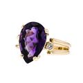 Stunning Modern Ladies 14K Yellow Gold Diamond & Purple Amethyst Ring - New