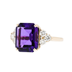 Stylish Modern Ladies 14K Yellow Gold Diamond & Purple Amethyst Ring - Brand New