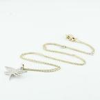 Beautiful 14K White Gold Round Diamond Dragonfly Pendant Necklace