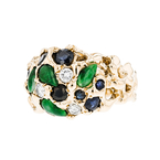 Exquisite Modern Ladies 18K Yellow Gold Diamond, Sapphire & Jade Ring - New