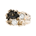 Gorgeous Modern Ladies 14K Yellow Gold Diamond & Black Sapphire Ring - New