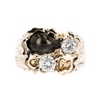 Gorgeous Modern Ladies 14K Yellow Gold Diamond & Black Sapphire Ring - New