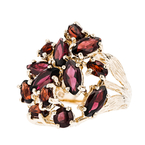 Stunning Modern Ladies 14K Yellow Gold Red Garnet Statement Ring