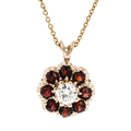 Modern Ladies 14K Yellow Red Sapphire & Diamond Chain/Necklace & Pendant Set New