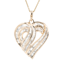 Ladies 10K Yellow Gold Diamond Chain Necklace & Heart-Shaped Pendant Set 2.86CT