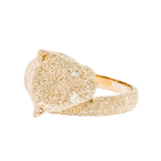 Charming Ladies 14K Yellow Gold Feline Design/Cat-Shaped Diamond Ring - New
