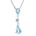 Modern Ladies 14K White Gold Blue Topaz & Diamond Chain/Necklace & Pendant Set
