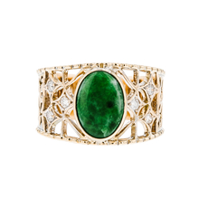 Exquisite Modern Ladies 14K Yellow Gold Diamond & Jade Statement Ring