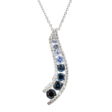 Modern Ladies 14K White Gold Dark Blue Sapphire & Diamond Necklace & Pendant Set