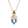 Modern Ladies 14K Yellow Gold Blue Topaz & Diamond Chain/Necklace & Pendant Set