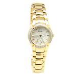 Ladies Bulova 98W06 Diamond-Accented Mother of Pearl Dial Gold Tone Watch