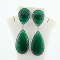 Lushes Green Chrysoprase 93.25 Pear Shaped 18K White Gold Dangle Earrings