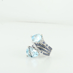 Lovely Light Blue Quartz & Diamond 18K Fine White Gold Cocktail Designer Ring