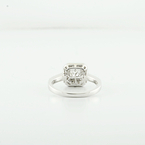 Stunning 0.62 Princes Cut Solitaire Halo Diamond 14K White Gold Ladies Ring Sz 6