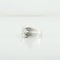 Handsome Mens 0.77 Single Diamond 14K White Gold Pinky Ring With Etched Finish