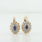 Stunning Rose Gold European Locking Dangle Sapphire & Diamonds Ladies Earrings