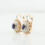 Stunning Rose Gold European Locking Dangle Sapphire & Diamonds Ladies Earrings