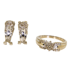 Charming Classic Estate 18K White Gold Diamond Ladies Ring Earrings Set 1.29CTW