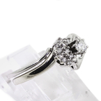 Classic Estate 10K White Gold Diamond Heart Ladies Anniversary Wedding Ring Set