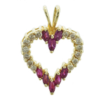 Charming Classic Estate Ladies 14K Yellow Gold Diamond & Red Ruby Heart Pendant