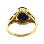 Estate Ladies 14K Yellow Gold Blue Linde Star Sapphire Zirconia Cocktail Ring