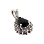Charming Modern 14K White Gold Diamond & Dark Blue Spinel Pendant - 0.80CTW