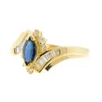 Estate Vintage Ladies 14K Yellow Gold Diamond & Sapphire Marquise Ring
